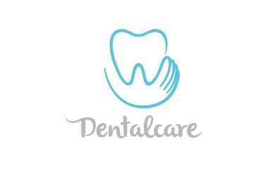 Creative Teeth Heart Inside Holding Logo Design Symbol Illustration