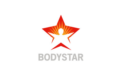 Creative Body Star Sunshine Happy Silhouette Logo Design Symbol Illustration