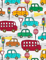 Colorful cars in morning traffic. Illustration and all over seamless pattern.