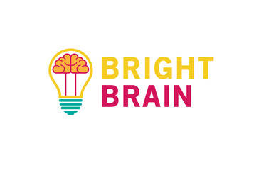 Creative Lamp Bulb Brain Inside Logo Design Symbol Illustration