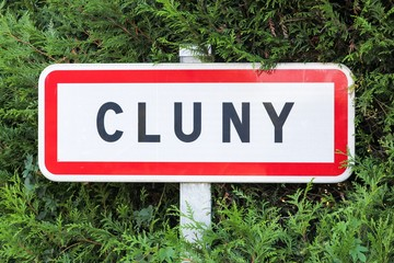 Cluny city road sign in Burgundy, France