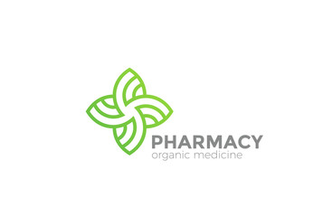 Pharmacy Organic Natural Medicine Cross Logo vector Linear