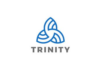 Trinity Triangle abstract Logo design vector Linear icon