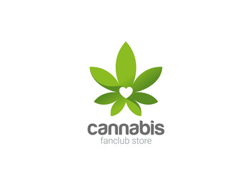 Cannabis Leaves Plant Shop Logo design vector template