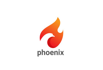 Phoenix Bird in Fire Flame Logo design vector Negative space
