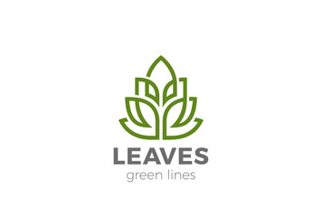 Green Organic Leaves Plant Logo vector Linear