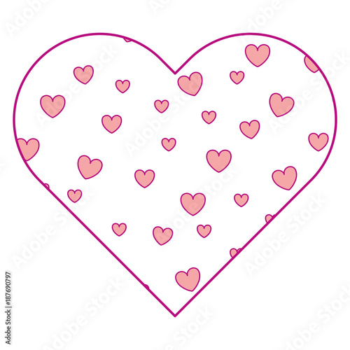 heart frame with hearts pattern background vector illustration ...
