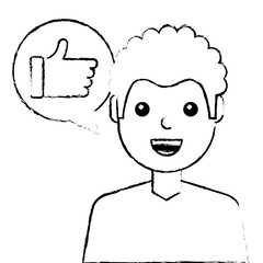 man with hand like in speech bubble vector illustration sketch design