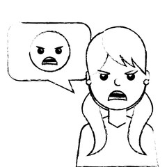 young woman with angry emoticon in speech bubble vector illustration sketch design