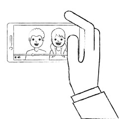 hand holding phone mobile with people video player vector illustration