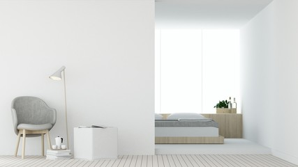 Wall Mural - The interior hotel bedroom and relax space 3d rendering  white background