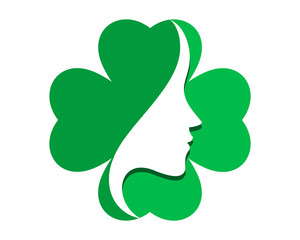 green clover woman silhouette icon