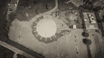 Aerial view of circular sport game stadium