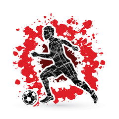 Soccer player running with soccer ball action designed on splatter ink background graphic vector