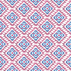 Seamless Hand Drawn Watercolor Ethnic Tribal Pattern. Blue and Pink watercolor figures on white background.