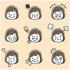 シニア女性:顔、表情、セット