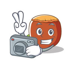 Photographer hazelnut mascot cartoon style