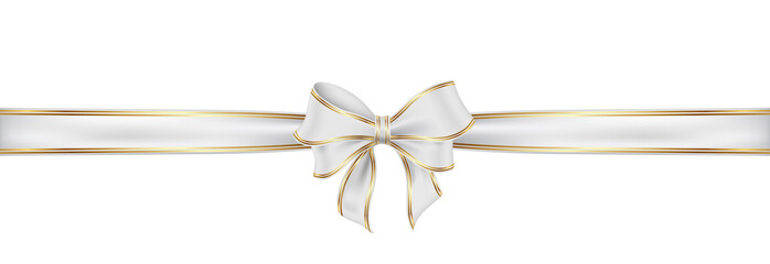 Weiß Schleife mit Naht. White satin ribbon and bow vector illustration.