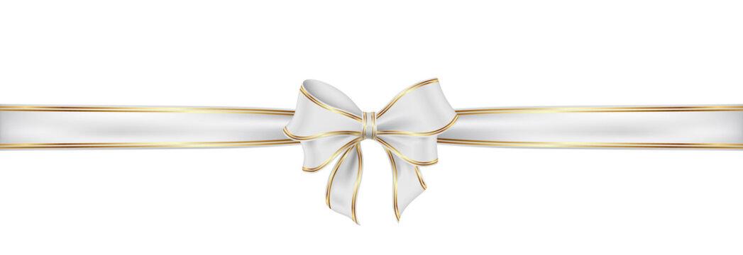 Weiß Schleife mit Naht. White satin ribbon and bow vector illustration.