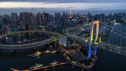 Night view of Tokyo Tower and Rainbow Bridge