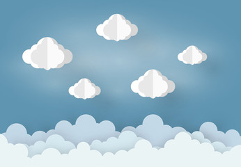 Paper art design mobile style the concept is rainy season, Cloud and on Blue Sky background , vector design element illustration