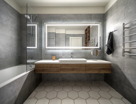 Stylish bathroom in modern style