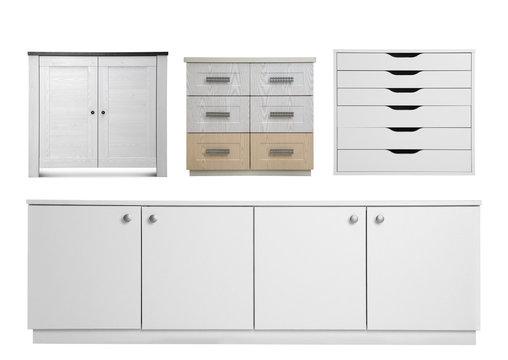 Set of modern wardrobes on white background