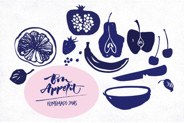 Jam labels template. Fruit silhouettes