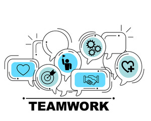 Teamwork icons set for business illustration design