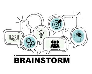 Brainstorm icons set for business illustration design