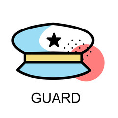 Police hat icon fir guard on white background