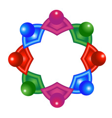 Vector of abstract colorful atomic molecular team laboratory icon logo