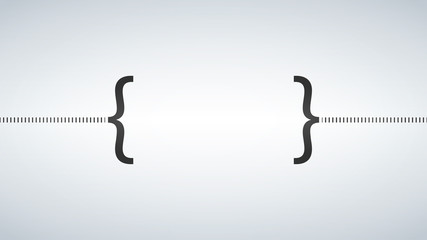 The curly Bracket icon. Quote symbol. Black and white concept. Flat Vector illustration