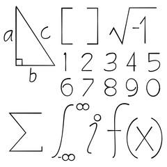 hand drawn math signs