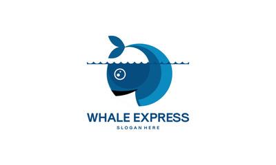 Circle Modern Whale logo designs template vector