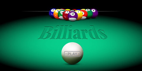 Vector billiard illustration. Green billiard table with balls.