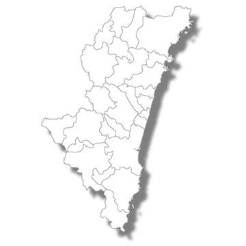 宮崎 地図 白 アイコン