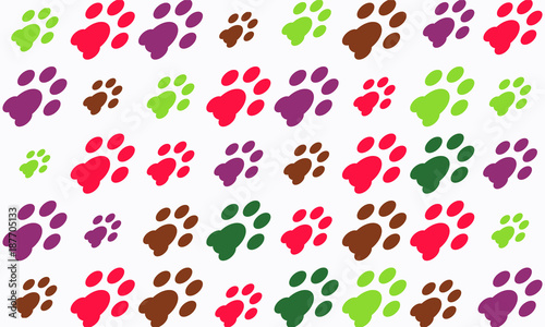 Colorful Animal Paw Pattern Dog Walking Foot Print Wallpaper Vector