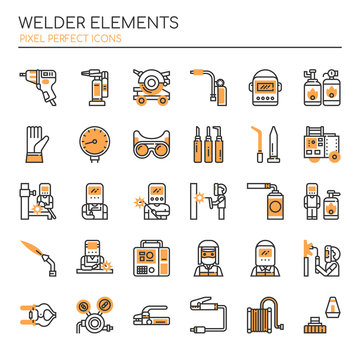 Welder Elements , Thin Line and Pixel Perfect Icons.