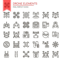 Drone Elements , Thin Line and Pixel Perfect Icons.
