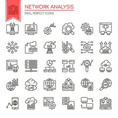 Network Analysis , Thin Line and Pixel Perfect Icons.