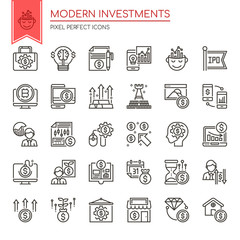 Modern Investments , Thin Line and Pixel Perfect Icons.