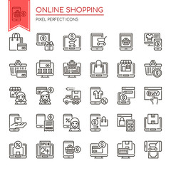 Online Shopping , Thin Line and Pixel Perfect Icons.