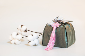 Korea traditional present wrapping clothes. cotton flower