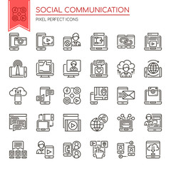 Social Communication , Thin Line and Pixel Perfect Icons.