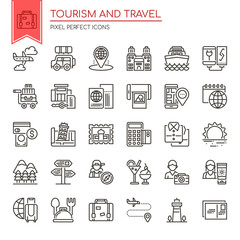 Tourism and Travel , Thin Line and Pixel Perfect Icons.