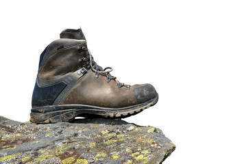 Hiking shoe on the rock on white background.