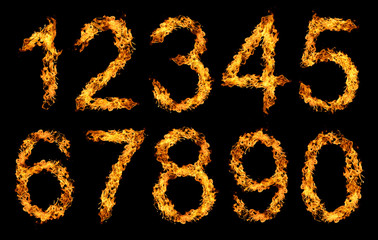 Numbers made from fire flame isolated on black background.
