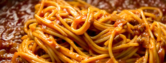 Italian bolognese spaghetti with minced meat