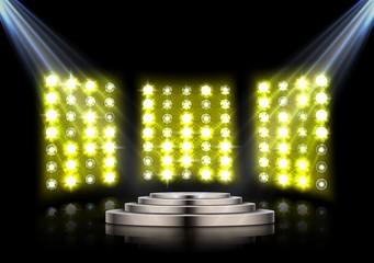 Stage podium with spotlights on dark background
